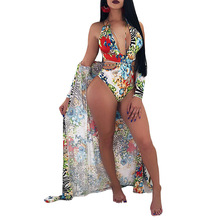 2018 New Fashionable Bandage Swimsuit+ Cover Up Shawl Cardigan Tops Women Sexy Cover Ups Summer Beach Dress Two Piece Bikini Set graphic two tone self tie cover ups dress