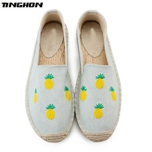 TINGHON Fashion Women Ladies Espadrille Shoes Canvas Embroidery pineapple Rome Ankle Strap Hemps Flats