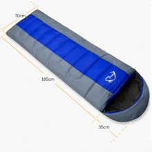 Wind Tour Thermal Adult Sleeping Bag Autumn Winter Envelope Hooded Outdoor Travel Camping Water Resistant Thick 1.3kg Blue