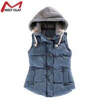 2014 New Female Outwear Sleeveless Jacket Winter Down Cotton Warm Women Waistcoat Plus Size Denim Vest