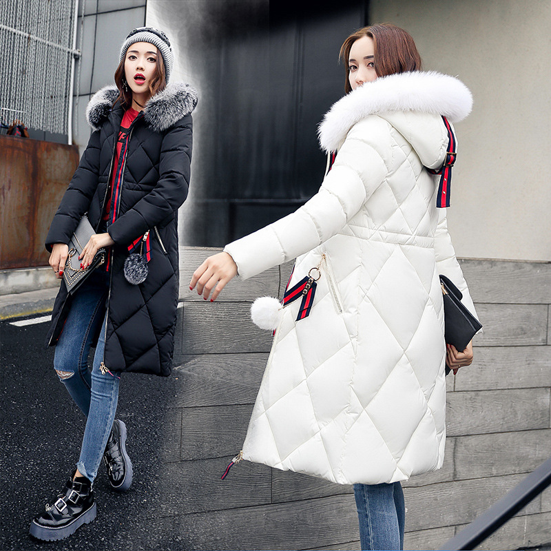 Wholesale Ladies Winter Down Coats for Pregnant Women Thicker Long Parka Rabbit Fur Collar Hooded Red Black Maternity Clothes down the rabbit hole