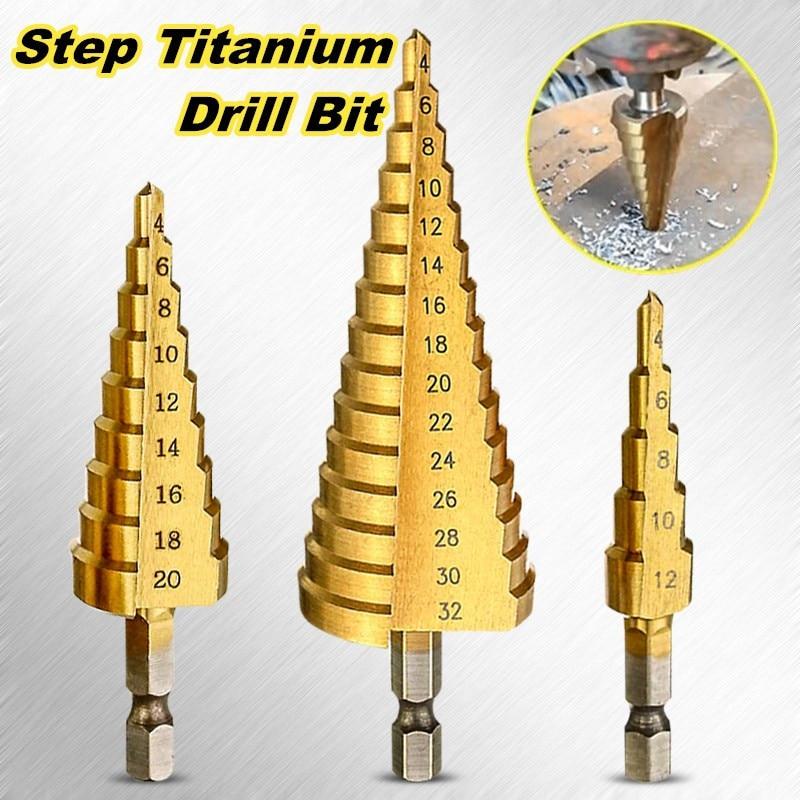 Multi-size HSS Steel Titanium Step Drill Bits 4-12/4-20/4-32mm Step Cone Cutting Tools Steel Woodworking Wood Metal Drilling