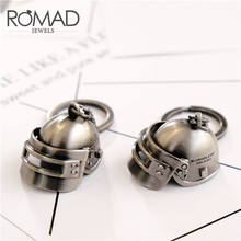 ROMAD PUBG Keychain Game Playerunknown's Battlegrounds Level 3 Helmet Key Rings Gold Special-Forces Armor Key chain For men R4