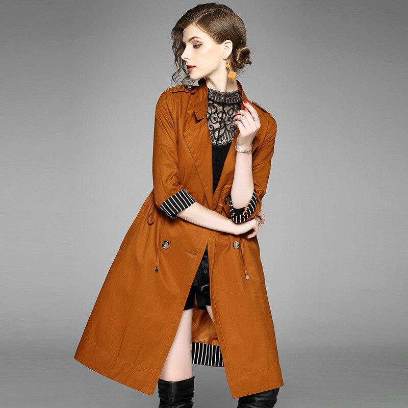 ฤดูหนาวสีดำสีกากีผ้าฝ้ายt rench coatผู้หญิงผ้าคาดเอวพ็อกเก็ตแขนยาวเสื้อกันลมฤดูใบไม้ร่วงเปิดs titchทนกว่าcasaco feminino-ใน โค้ทยาว จาก เสื้อผ้าสตรี บน   1