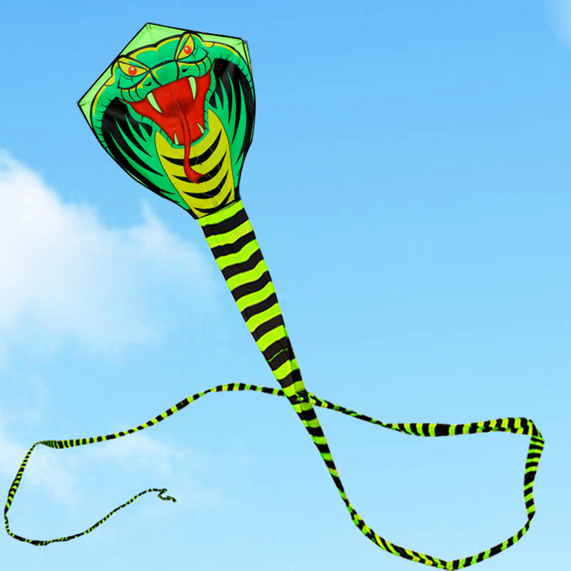 free shipping 15m snake kite flying line ripstop nylon fabric outdoor toys cerf volant easy open kids kites for adults rainbow image