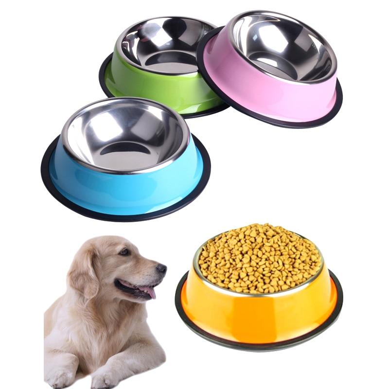 Cuenco de perro de acero inoxidable 200 ML 250 ML 500 ML Tazones de alimentación para mascotas para gatos o bebederos Artículos para perros para mascotas