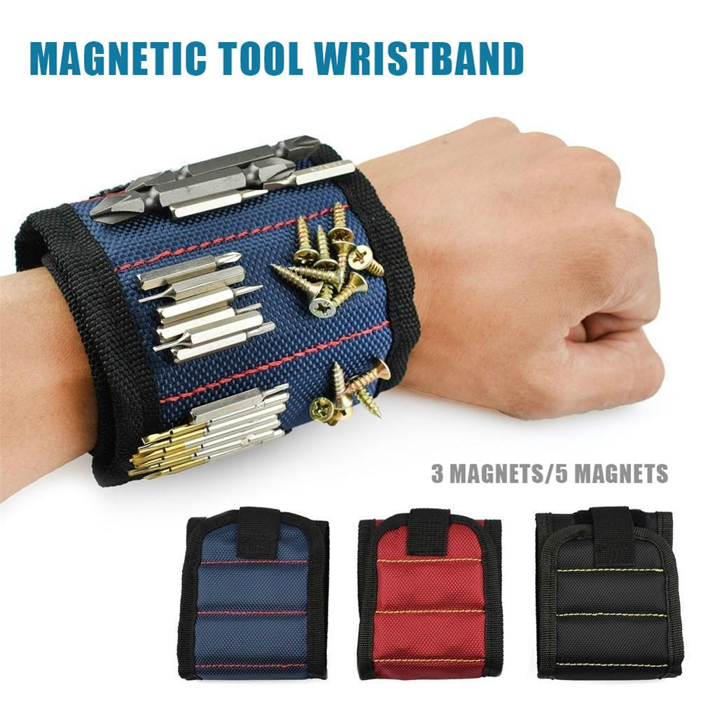 1pc Magnetic Tool Belt Bag 3 Or 5 Magnet Wristband Bracelet Bags For Screws Nails Drill Bits Carpenter Auto Repair Tool