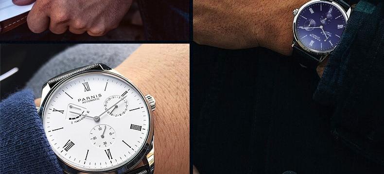 HTB1t3TeMmzqK1RjSZFpq6ykSXXao 2019 Luxury Man Parnis Power Reserve Automatic Watch Mechanical Self Winding Men Watches mekanik kol saati relogio automatico