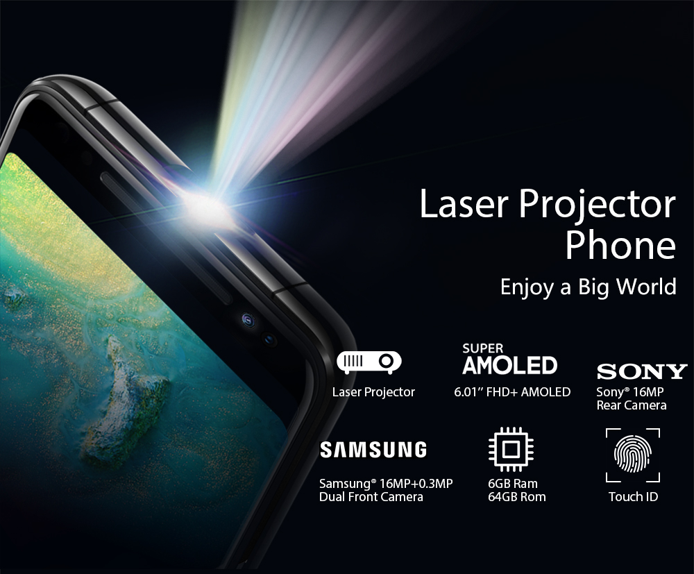 """Image 2 - Blackview MAX 1 Smartphone 6GB+64GB 6.01"""" Screen 4680mAh MT6763T Octa Core Android 8.1 Dual SIM Mobile Phone NFC Mini Projector-in Cellphones from Cellphones & Telecommunications"""