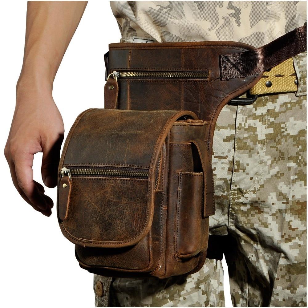 Genuine Leather Men Design Casual Messenger Shoulder Sling Bag Fashion Multifunction Waist Belt Pack Drop Leg Bag Pouch 3110-D