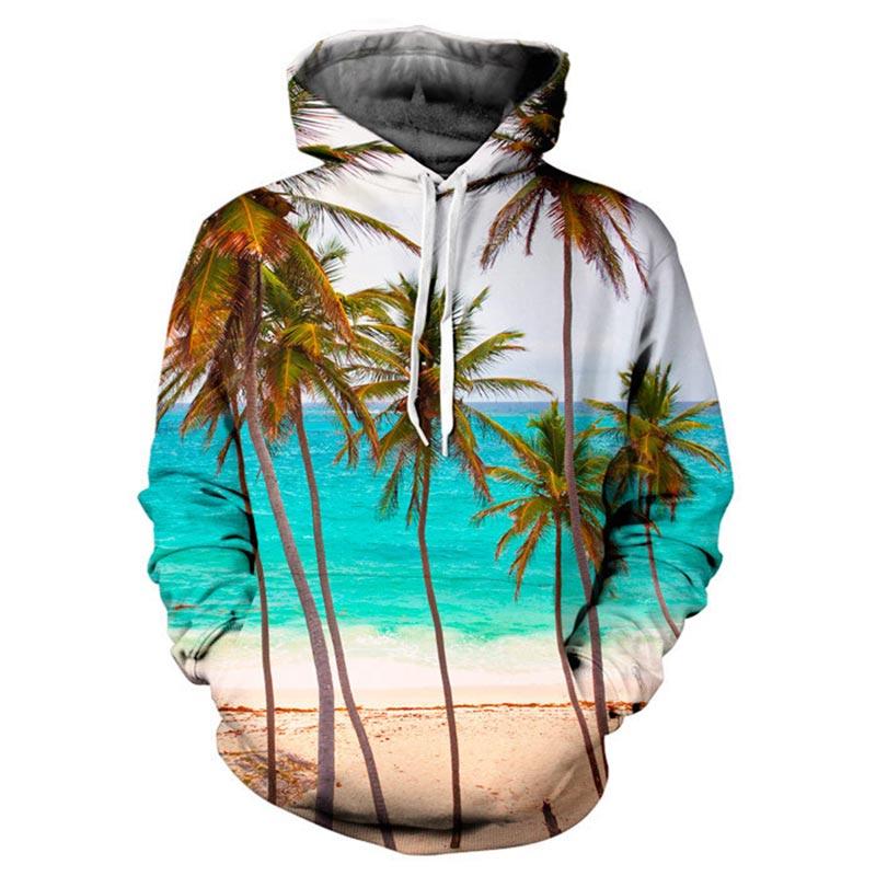 Headbook New Fashion Brand Sweatshirt Women/Men Hoodies Hooded 3d Print Coconut Trees Sea Beach 3d sweatshirt Hoody YXQL002