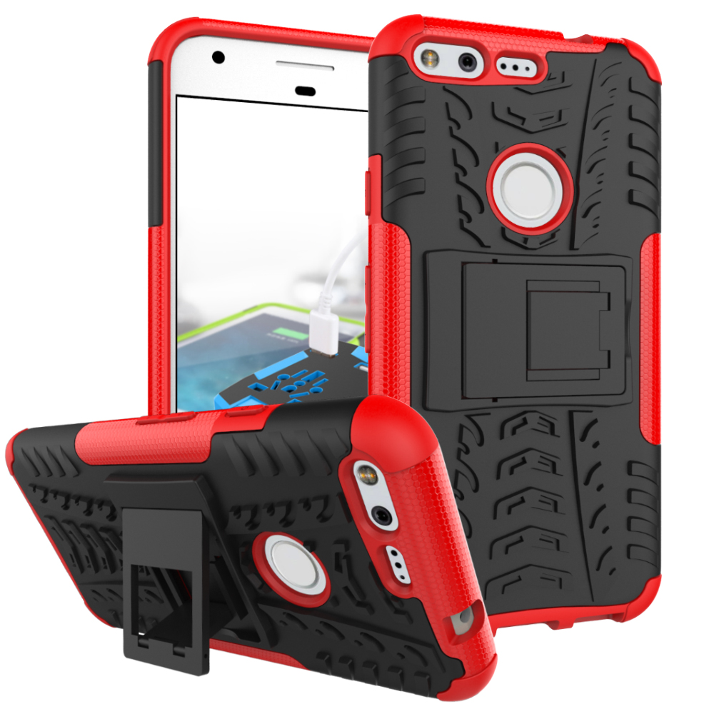 2 In 1 Heavy Duty Strong Rugged Armor Tire Style Hybrid TPU PC Hard Stand Bracket Case For Google Pixel
