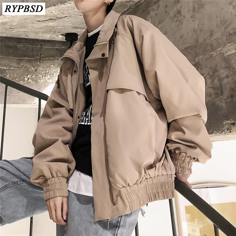 2019 printemps hommes mode vêtements marque manteaux Streetwear Bomber vestes vêtements coupe large noir/kaki couleur coupe-vent M-XL