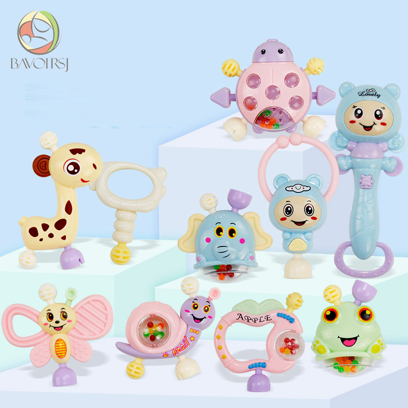 10pc/lot Early Learning Montessori Toys Teething Educational Crib Mobiles Baby Teether Toy For Girls Waldorf Rattle Toy T0402