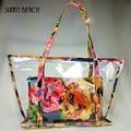 Мода лето женщины цветочный композитный мешок прозрачный пластиковый прозрачный пляжная сумка ПВХ желе мешок большой мешок
