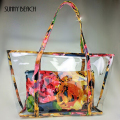 Fashion summer women floral composite bag clear plastic transparent beach bag  PVC jelly bag big bag