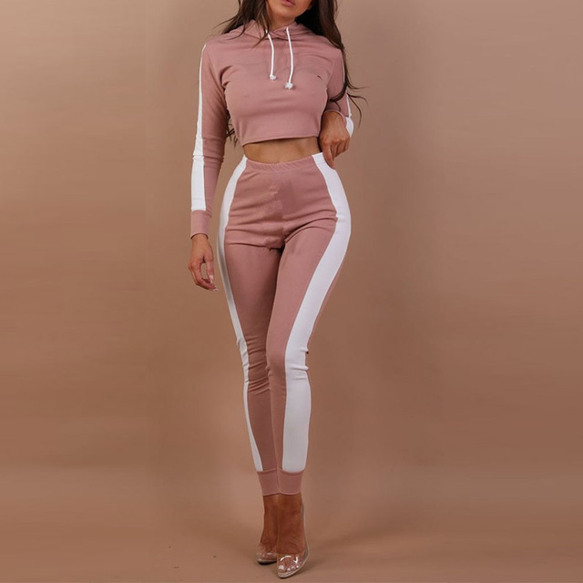 e230b2db3b Casual 2 Pieces outfits for women tracksuits hoodies long sleeve sweatsuit crop  top and long pants two piece pants set feminino