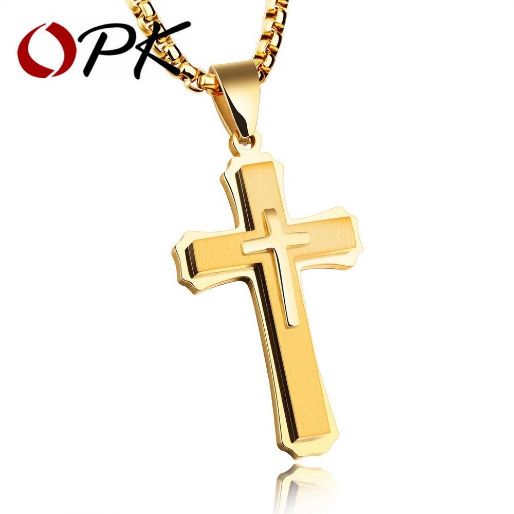OPK Hip Hop croix pendentif collier pour hommes 2017 nouveau blanc/noir/or couleur acier inoxydable 55 CM boîte lien chaîne mâle cadeau GX1213