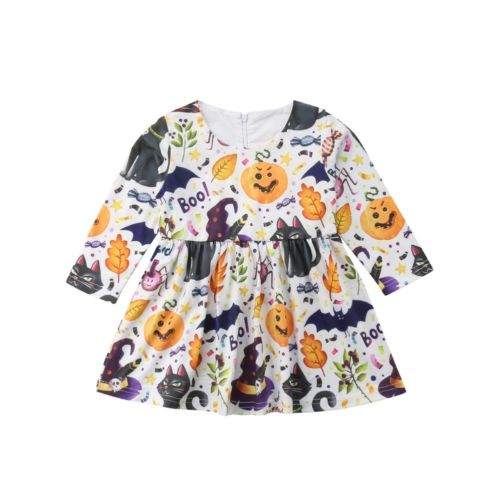 2018 Halloween Newborn Infant Baby Girl Dress Long Sleeve Princess Mini Dress Clothes Hot