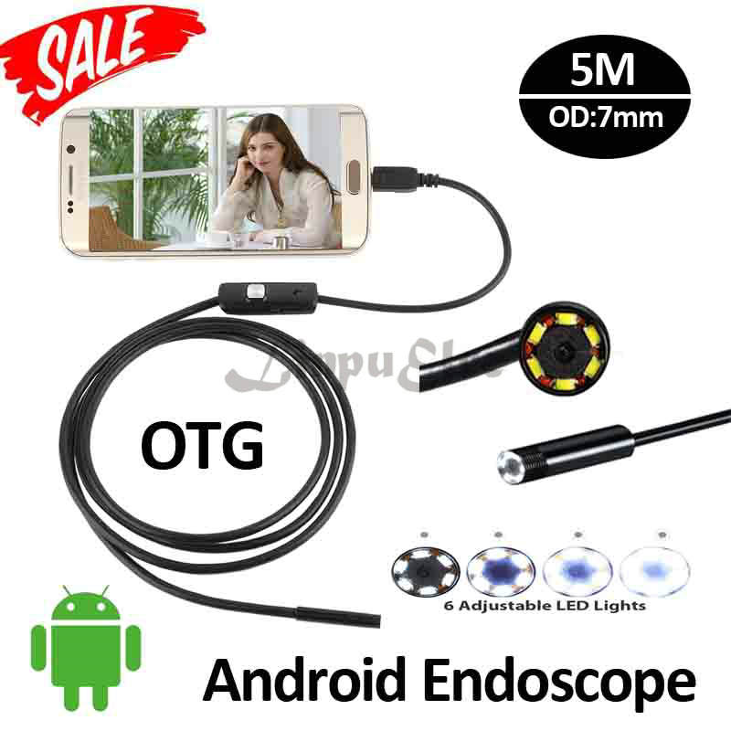 7mm 5M Android OTG USB Endoscope Camera 6LED Snake USB Pipe Inspection Waterproof Smart Andorid PC OTG Borescope OTG USB Camera 2m 5 5mm lens inspection android usb borescope usb android otg usb endoscope camera waterproof snake tube pipe for android pc