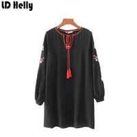 LD Helly Womens Autumn Embroidered Floral Dress Vintage Ethnic Style Loose Black O Neck Full Sleeve