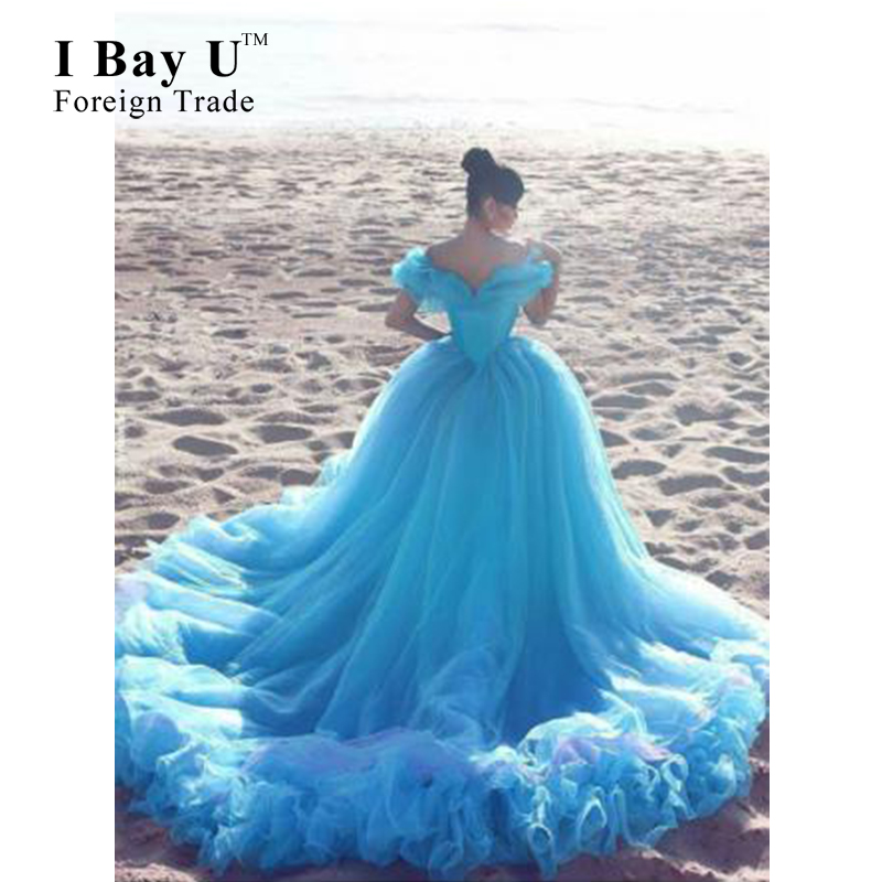 Blue Cloudy Wedding Dress 2016 Glamorous Princess Wedding Dresses Blue Sweep Train Party Gowns Puffy Wedding Dress Dubai Dresses