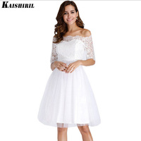 Kaishiril Summer dresses for women sexy white lace dress summer 2018 female women's off shoulder tunic party dress