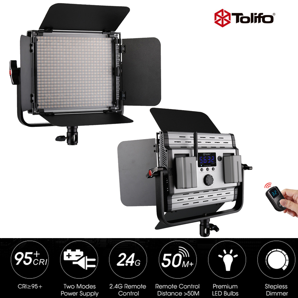 Tolifo GK-600MB 2.4G Wireless Remote Control LED Video Studio Light Bi-Color & Dimmable  w/Barndoor for Photography Interview new godox 308c bi color dimmable 5500k 3300k led video led video studio light lamp professional video light with remote control