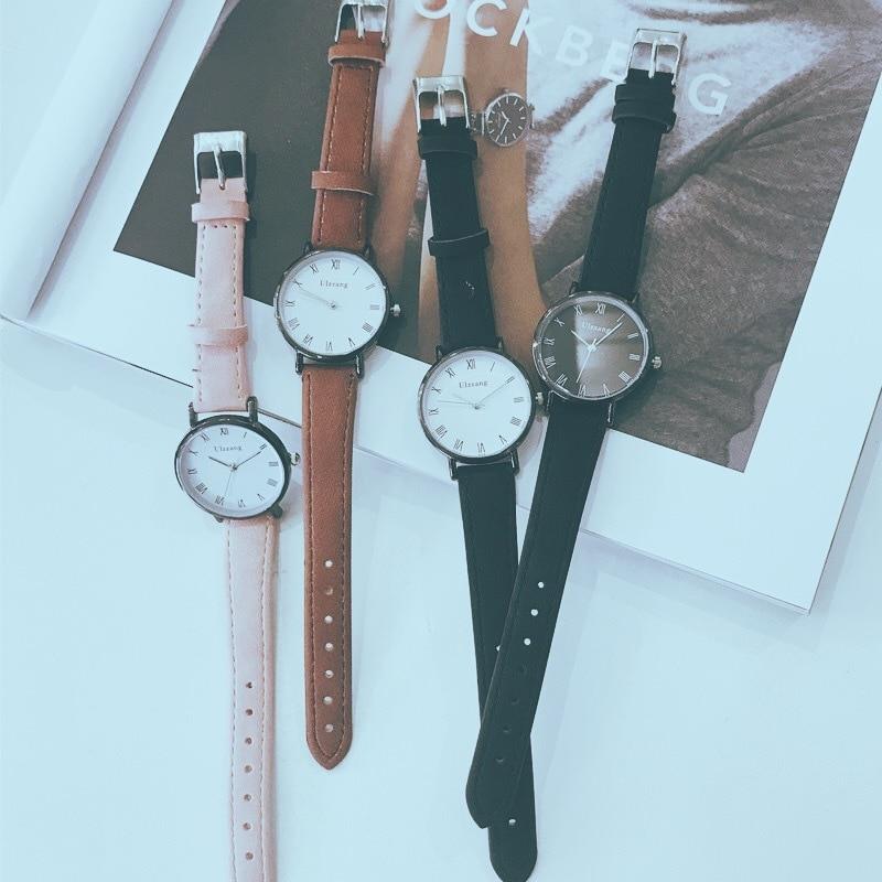 Простой ретро римские Стиль любителей Кварцевые наручные часы Ульта тонкий Для мужчин женские часы досуга Для женщин Дамы Винтажные часы часов