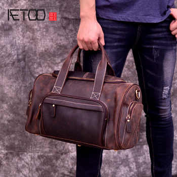 AETOO Large capacity mad horse leather travel bag, male cowhide retro business bag bag, leather shoulder handheld male bag - DISCOUNT ITEM  52 OFF Luggage & Bags