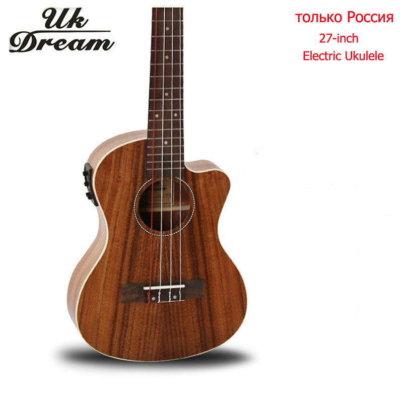 Wooden Guitar 27 Inch Acacia With Eletric Box Electric Ukulele Chipping Guitar Classic 4 Strings Only