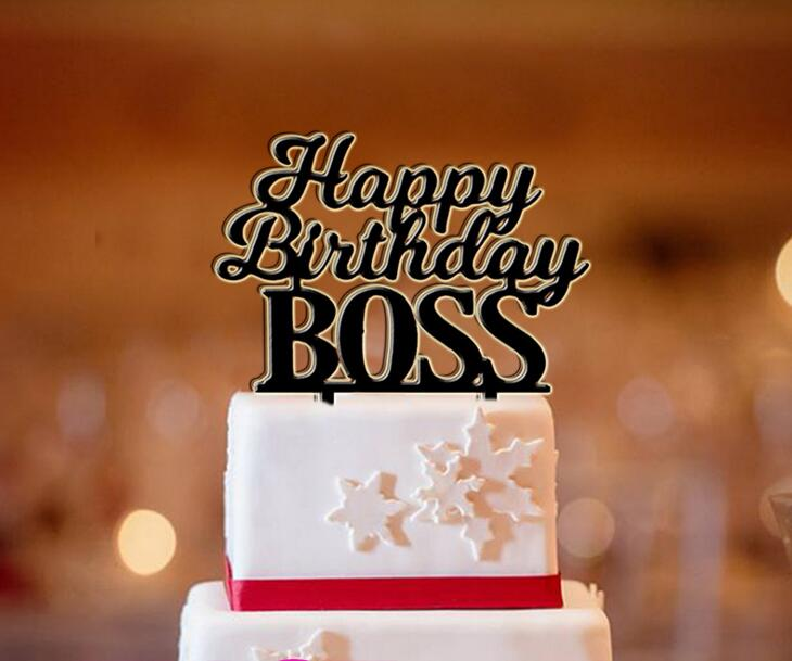 Phenomenal Free Shipping Happy Birthday Boss Cake Topper Gold Silver Acrylic Personalised Birthday Cards Cominlily Jamesorg