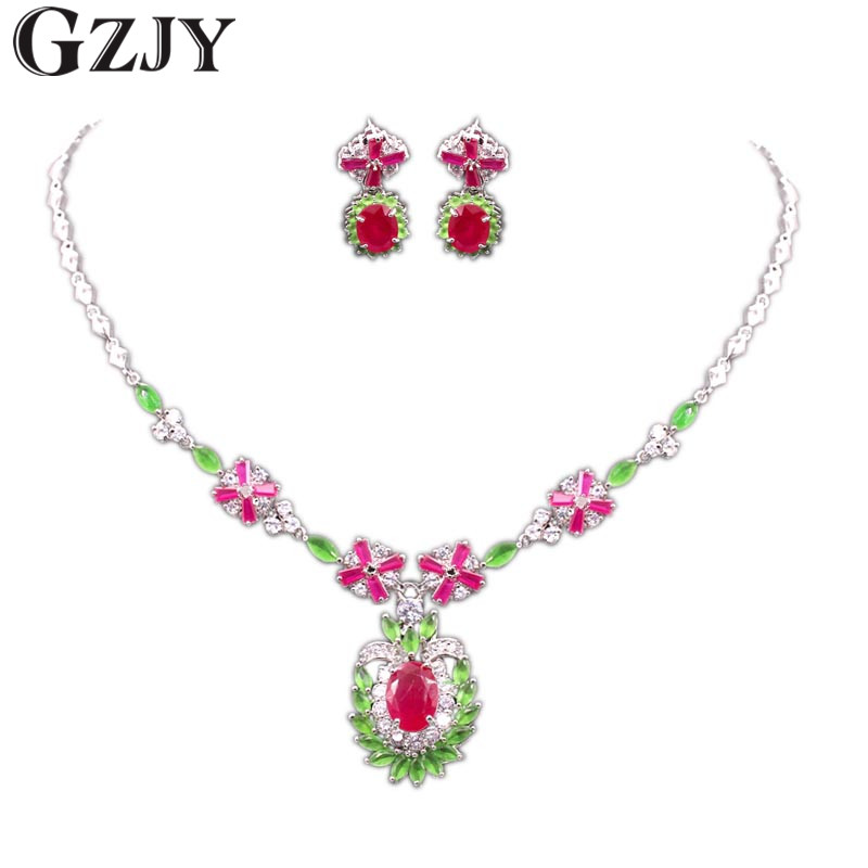 GZJY Elegant Beautiful Bridal Jewelry Sets Gold Color Red Green AAA Zircon Wedding Necklace Earring Jewelry For Women beautiful red leaves indian crystal jewellery bridal jewelry set gold color women gifts party wedding prom necklace earring sets