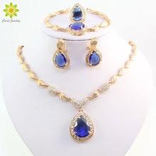 Африканский бисер, ювелирный набор, голубой циркон, капля воды, бусина, свадебное ожерелье, набор золотого цвета, кристалл, африканские ювелирные наборы