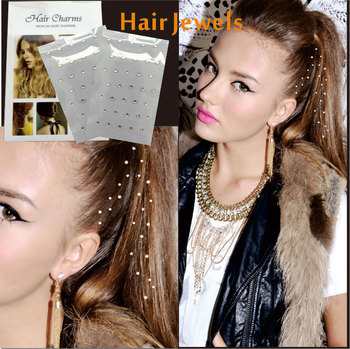 2 pcs/ package Hair Jewel Sticker, with  Charmsies Hair Tattoo You can Pick from Star Heart Rhombus Square Gem Чокер