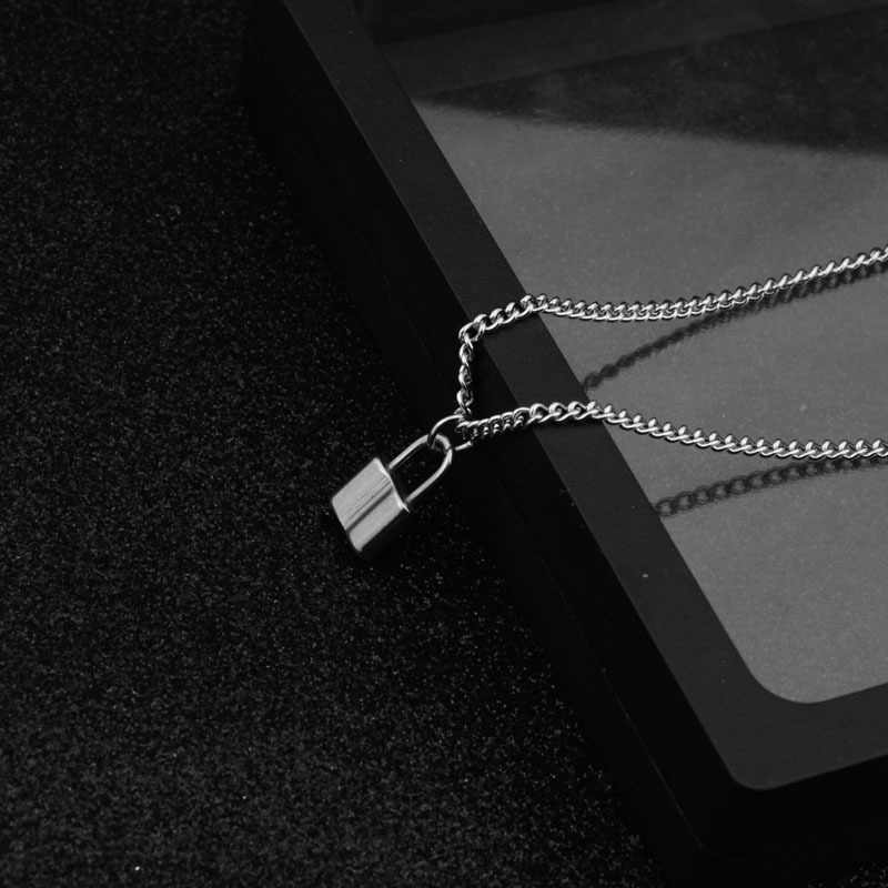 2019 Stainless Steel Silver  PadLock Pendant Necklace Brand New Rolo Cable Chain Necklace collar ras du cou collier femme women