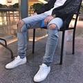 men style summer stretch destroy wash jeans designer blue hip hop streetwear slim fit men broken denim destroy jeans swag PANTS