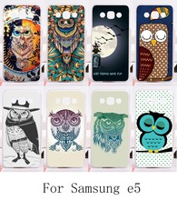 New Protective Phone Cover for Samsung Galaxy E5 E500 SM-E500F E500H Cases with Colorful Owl DIY hard and Silicon painting back