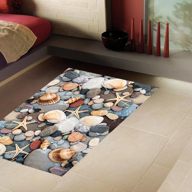 2018 New 3d Stone Floor Sticker Beautiful Cobble Shell Sea Star