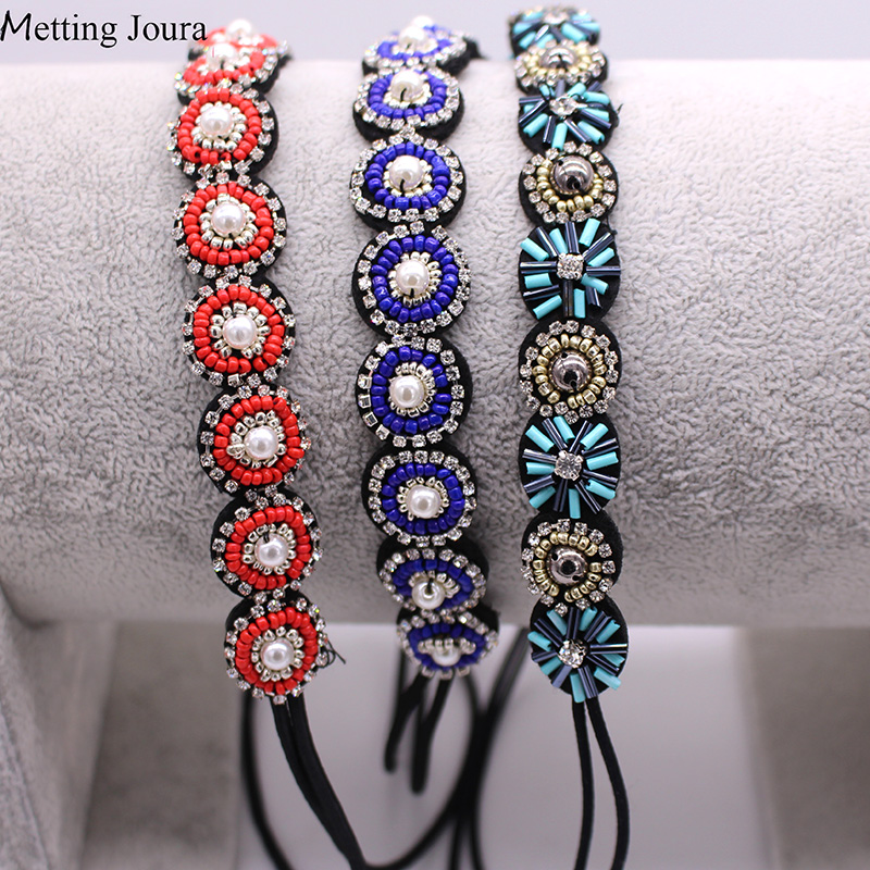 Metting Joura Vintage Spring Colored Beads Braided Headband Rhinestone Elastic Hair Band For Women & Girls Hair Accessories