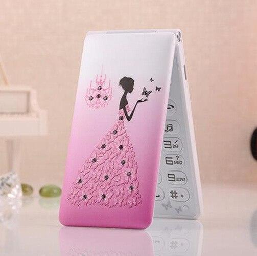 Фото. Разблокированный телефон-раскладушка D11 Dual Sim 1800 мАч карты Для женщин девочек светодиодный фон
