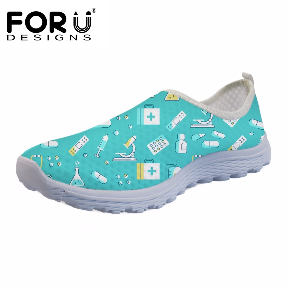 FORUDESIGNS Cartoon Nursing Fashion Girls Mesh Sneakers Women Flats Summer Nurse Pattern Female Light Casual Shoes Woman Walking instantarts cute cartoon pediatrics doctor print summer mesh sneakers women casual flats super light walking female flat shoes