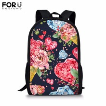FORUDESIGNS Customize Picture Backpack for Teenager Girl Boy Colorful Flower Print School Bag Childrens BookBag Student Mochila