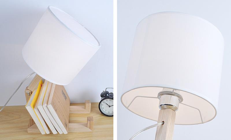 Nordice Modern Creative Gifts Foldable Robot Desk Table Lamps Wooden Base Table Lamp Bedside Reading Desk Lamp Home Decor Light Fixture (16)