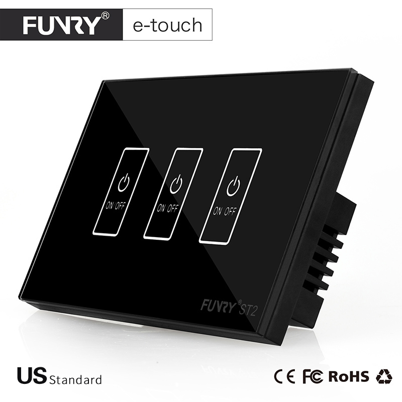 FUNRY ST2-US Standard Touch Switch 3 Gang 1 Way Black Crystal Glass Panel Smart Wall Switch for Home Automation Free Shipping smart home us au wall touch switch white crystal glass panel 1 gang 1 way power light wall touch switch used for led waterproof