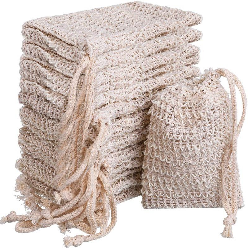 15 Packs Of Soap To Exfoliate Natural Flax Soap Bag|Foldable Storage Bags| |  - title=