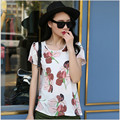 6 Styles Women Blouse Summer Style Floral/ Cartoon/ Stripes Printed Elegant Chiffon Shirt Short Sleeve Slim Lady Blouses X926S