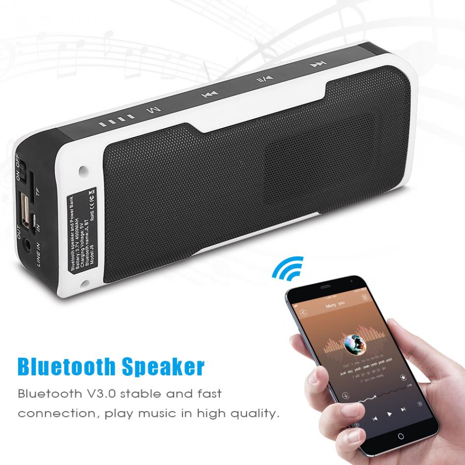 2.4GHz Wireless Bluetooth Speaker Outdoor Stereo Loudspeaker 4000mAh Phone Charger Power Bank Touch Button Support TF FM Radio