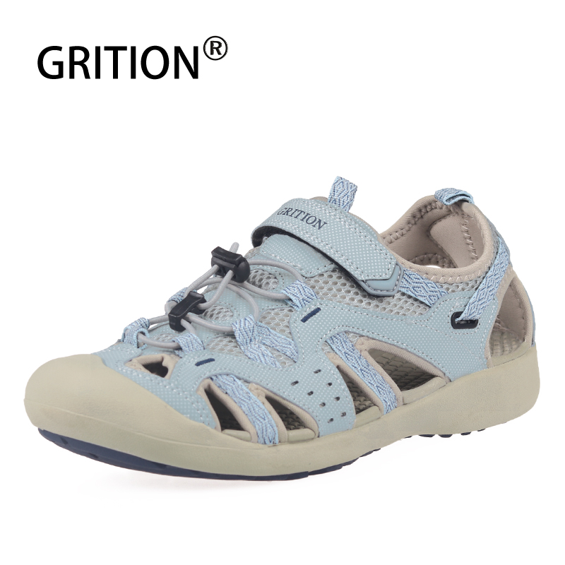 GRITION Sandals Women Leather Summer Walking Trekking Outdoor Shoes Soft Flat Beach 2019 New Young Female
