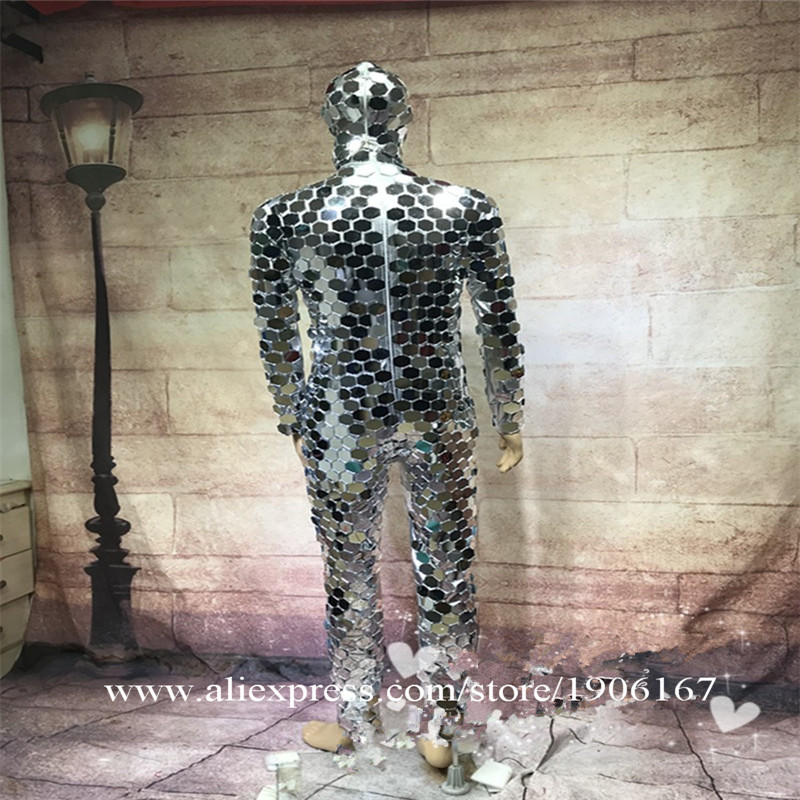Ballroom dance men robot mirror suit women stage show costumes singer silver clothes models performance catwalk wears dj7